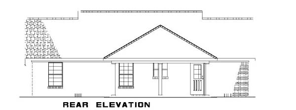 Country, Ranch House Plan 62386 with 3 Beds, 2 Baths Rear Elevation
