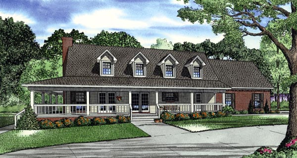 Country, Farmhouse, Southern House Plan 62389 with 3 Beds, 3 Baths, 2 Car Garage Elevation