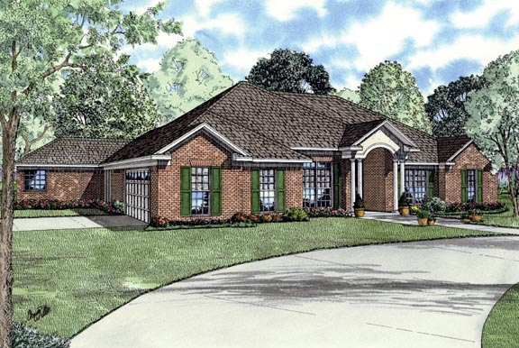One-Story House Plan 62391 with 4 Beds, 3 Baths, 2 Car Garage Front Elevation