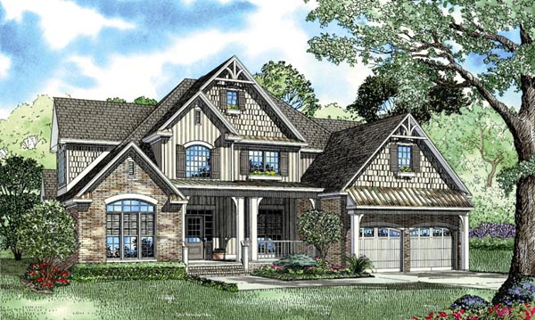 Craftsman, European, Tudor House Plan 62393 with 4 Beds, 3 Baths, 2 Car Garage Elevation