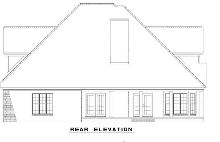Craftsman, European, Tudor House Plan 62393 with 4 Beds, 3 Baths, 2 Car Garage Rear Elevation