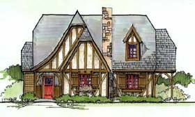 House Plan 62407   Tudor Style Plan with 1606 Sq Ft, 4 Bedrooms, 2 Bathrooms Elevation
