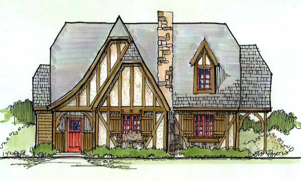 Tudor House Plan 62407 with 4 Beds, 2 Baths Elevation