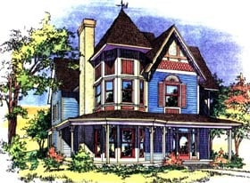 House Plan 62410 | Victorian Style Plan with 2400 Sq Ft, 3 Bedrooms, 3 Bathrooms Elevation