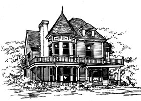 House Plan 62411 | Victorian Style Plan with 2400 Sq Ft, 3 Bedrooms, 3 Bathrooms Elevation