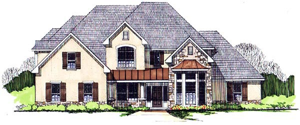 European House Plan 62412 Elevation