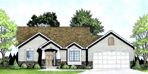 Traditional House Plan 62501 with 2 Beds, 1 Baths, 2 Car Garage Elevation