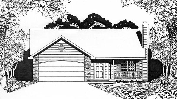 Ranch House Plan 62508 with 2 Beds, 2 Baths, 2 Car Garage Elevation