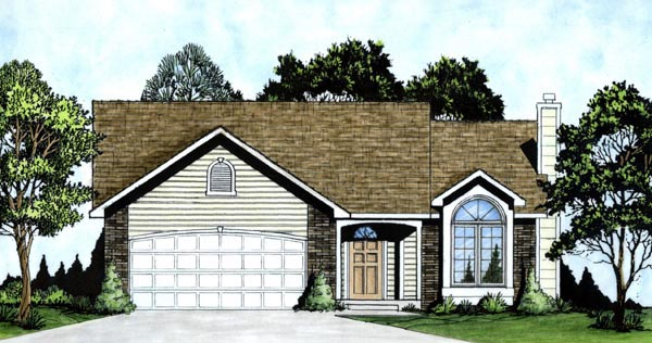 Narrow Lot , One-Story , Traditional House Plan 62510 with 2 Beds, 2 Baths, 2 Car Garage Elevation