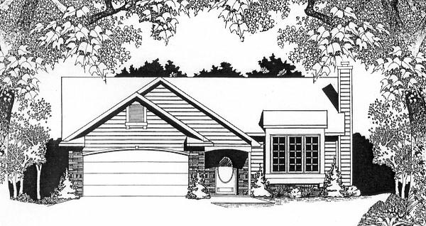 House Plan 62514 | Traditional Style Plan with 1160 Sq Ft, 2 Bedrooms, 2 Bathrooms, 2 Car Garage Elevation