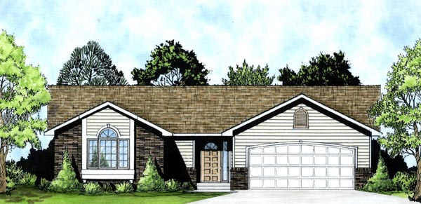 One-Story, Traditional House Plan 62515 with 3 Beds, 2 Baths, 2 Car Garage Front Elevation