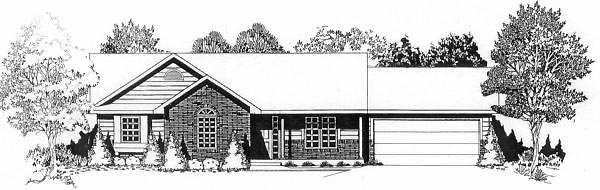 One-Story, Ranch House Plan 62517 with 3 Beds, 2 Baths, 2 Car Garage Elevation
