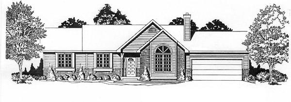 Ranch House Plan 62519 with 3 Beds, 2 Baths, 2 Car Garage Elevation