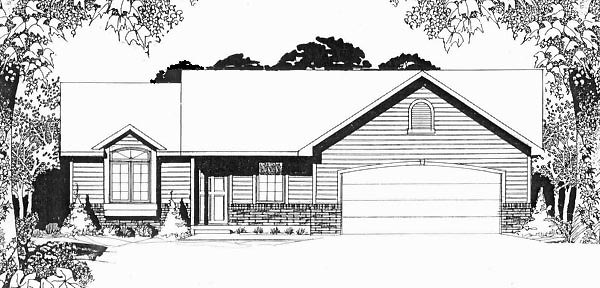 Traditional House Plan 62521 with 3 Beds, 2 Baths, 2 Car Garage Elevation
