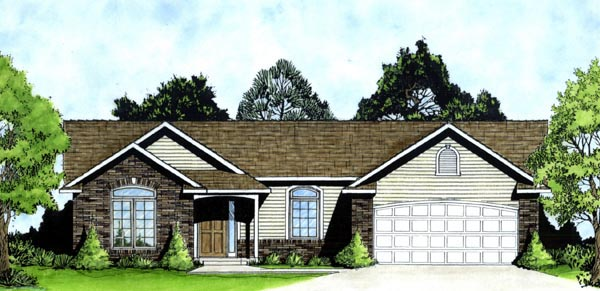 One-Story Traditional Elevation of Plan 62525