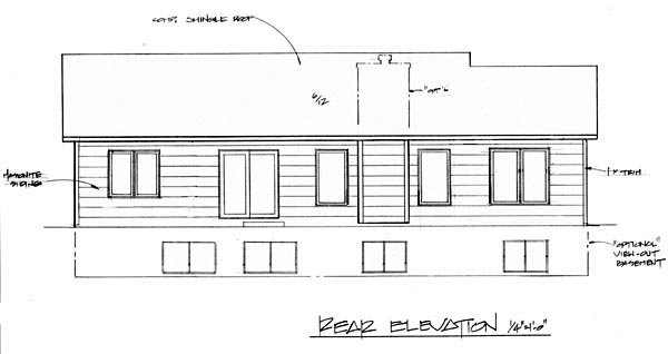 One-Story Traditional Rear Elevation of Plan 62525