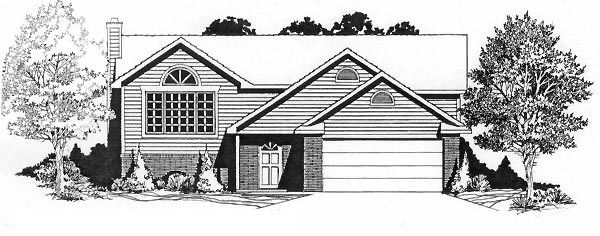 One-Story, Traditional House Plan 62529 with 3 Beds, 2 Baths, 2 Car Garage Front Elevation
