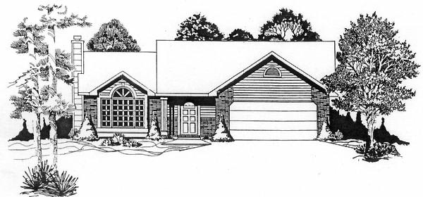 One-Story, Traditional House Plan 62531 with 3 Beds, 2 Baths, 2 Car Garage Elevation