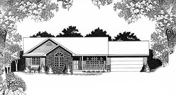 One-Story Ranch Elevation of Plan 62532