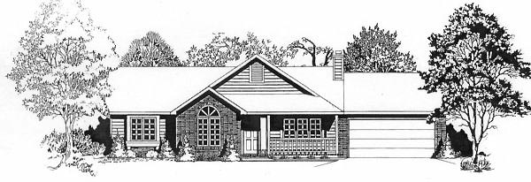 One-Story Ranch Elevation of Plan 62547