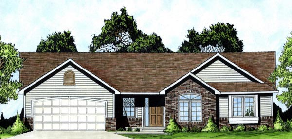 Traditional House Plan 62550 with 3 Beds, 2 Baths, 2 Car Garage Elevation