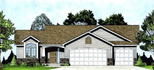 One-Story Traditional Elevation of Plan 62551