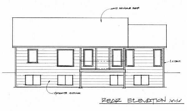 One-Story Traditional Rear Elevation of Plan 62551