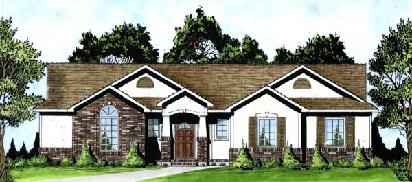 Bungalow, One-Story House Plan 62552 with 3 Beds , 2 Baths , 2 Car Garage Elevation