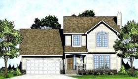 Contemporary House Plan 62557 with 3 Beds, 3 Baths, 2 Car Garage Elevation
