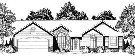 European, One-Story House Plan 62559 with 3 Beds , 2 Baths , 2 Car Garage Elevation