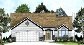 Traditional House Plan 62560 with 3 Beds, 2 Baths, 2 Car Garage Elevation