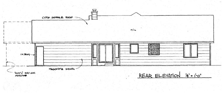 Ranch House Plan 62562 Rear Elevation