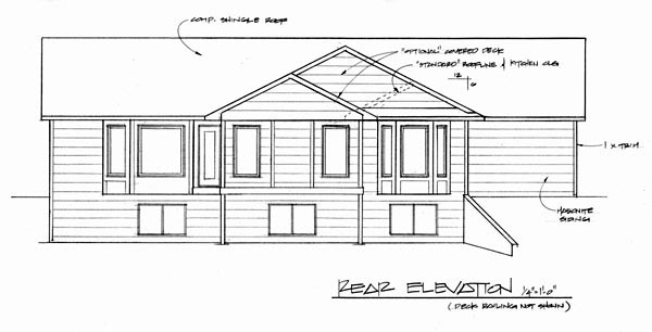 Ranch House Plan 62563 with 3 Beds, 2 Baths, 2 Car Garage Rear Elevation
