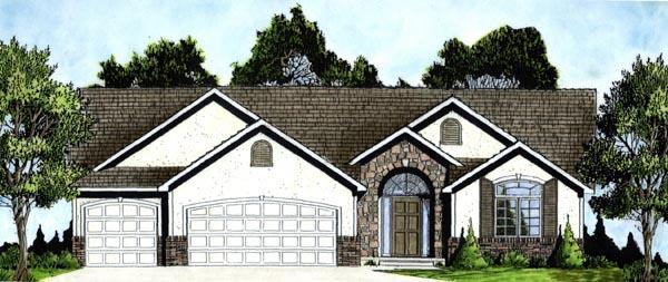 European House Plan 62568 with 3 Beds, 2 Baths, 3 Car Garage Elevation