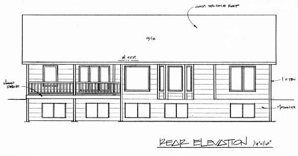 European House Plan 62568 with 3 Beds, 2 Baths, 3 Car Garage Rear Elevation