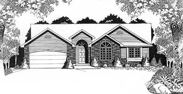 Traditional House Plan 62569 with 3 Beds, 2 Baths, 2 Car Garage Elevation