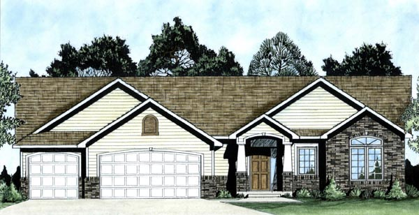 House Plan 62573 | Traditional Style Plan with 1464 Sq Ft, 3 Bedrooms, 2 Bathrooms, 3 Car Garage Elevation