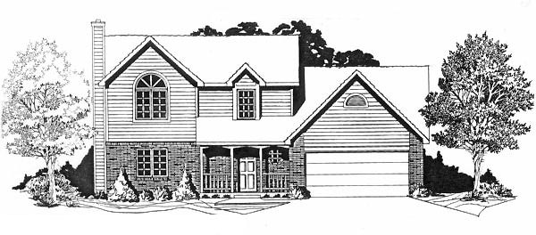 Traditional House Plan 62576 with 3 Beds, 3 Baths, 2 Car Garage Elevation