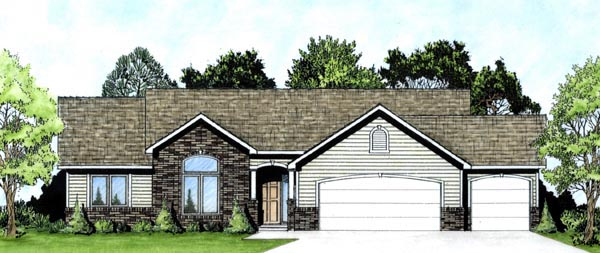 Traditional House Plan 62577 with 3 Beds, 2 Baths, 3 Car Garage Elevation