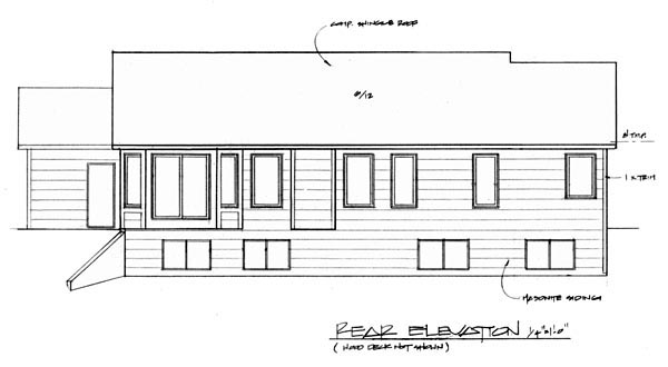 Traditional House Plan 62577 with 3 Beds, 2 Baths, 3 Car Garage Rear Elevation