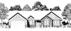House Plan 62579 | Traditional Style House Plan with 1504 Sq Ft, 3 Bed, 2 Bath, 2 Car Garage Elevation