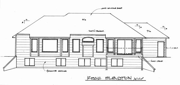 Traditional House Plan 62580 with 3 Beds, 3 Baths, 3 Car Garage Rear Elevation