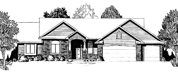 One-Story, Traditional House Plan 62585 with 3 Beds , 2 Baths , 3 Car Garage Elevation