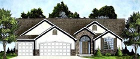 European House Plan 62586 with 3 Beds, 2 Baths, 3 Car Garage Elevation