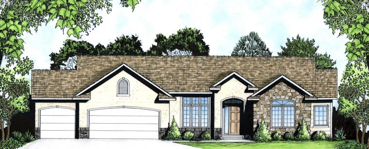 European House Plan 62588 with 2 Beds, 2 Baths, 3 Car Garage Elevation