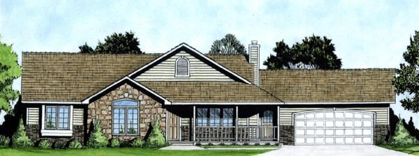Country House Plan 62589 with 3 Beds, 3 Baths, 2 Car Garage Elevation