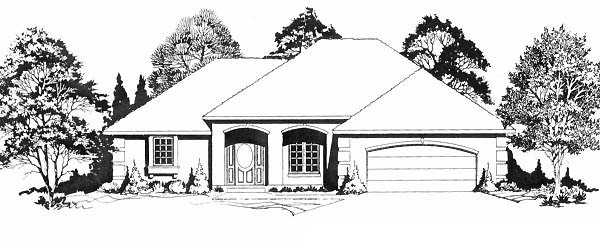 Traditional House Plan 62590 with 3 Beds, 2 Baths, 2 Car Garage Elevation