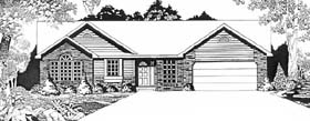 Ranch House Plan 62591 with 3 Beds, 2 Baths, 2 Car Garage Elevation
