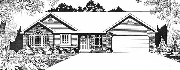 One-Story Ranch Elevation of Plan 62591