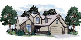 European House Plan 62592 with 3 Beds, 3 Baths, 2 Car Garage Elevation